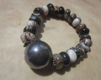 Silicon and Sardonyx / Black Striped Agate Bracelet