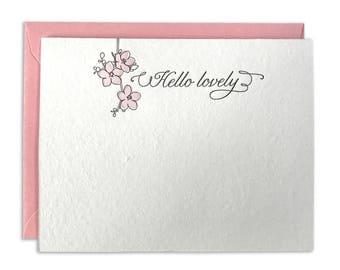 Letterpress Card Hello Lovely