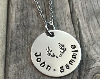 Personalized antlers necklace, hand stamped stainless steel