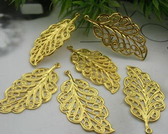 10 Pcs  Gold Plated Leaves Charm,Nickel Free17x34mm