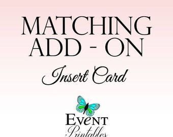 Matching Add-On Insert Card Template - Wedding Reception Card, Directions Card, Information Card Printable by Event Printables
