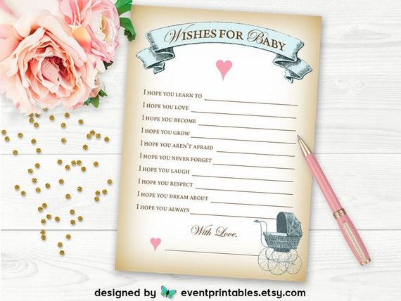 Baby Shower Wish Cards, Wishes for Baby Shower Game, Advice Cards, Vintage Carriage Blue, Printable DIGITAL FILE by Event Printables