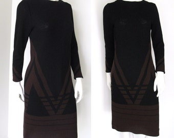 Vintage 1970s Adolfo New York Black Knit Dress with Geometric Brown Pattern Size M/L