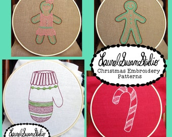Christmas Embroidery Patterns PDF Download Mitten Candy Cane Gingerbread Boy Girl Hand Stitching Hand Drawn Design