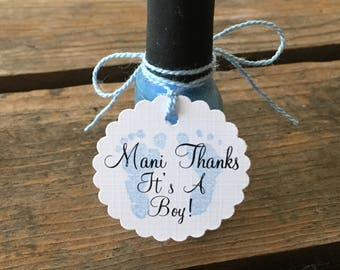 Baby Shower Decor - Mani Thanks Tag - Baby Footprint Tags - Pink Purple Blue Baby Footprint Tags - Nail Polish Tags - Baby Shower Favor