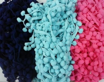 Pom Poms/3 yards Sky Blue Pom Pom/Navy Blue PomPoms/Hot Pink Pompom Trim/Curtain Trim/Blanket Pompom