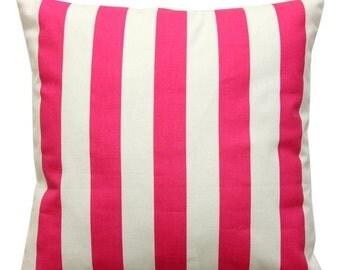 SALE Pink Toss Pillows, Candy Pink Canopy Striped Pillow Cover, Zippered Pillows, Hot Pink Pillow Case, Girls Room, Pink Bed Pillows, Dorm D