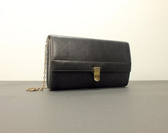 Barrel BAGUETTE Clutch Gold Chain Strap BLACK LEATHER Mad Men Purse Handbag Secretary Mod Dolly Retro Modern Mid Century Deco Evening Bag