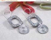 ON SALE: Artisan Handmade Sterling Silver Textured Earrings PMC Metal Clay
