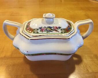 Vintage Steubenville Ivory #346 lidded sugar bowl, 30s Steubenville, 40s Steubenville, vintage china, mcm sugar bowl, mcm china