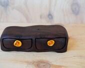 Jarrah box. Wood box. twin drawer box. Sculptured box. glass drawer knob. wooden box. ochre glass. Wood drawer box.