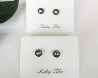 Tiny Gold checkered pattern dichroic glass studs - fused glass studs on sterling silver