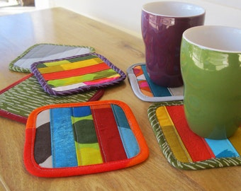 Fabric coasters • Marimekko • stocking stuffers • drink coasters • modern coasters • quilted coaster • contemporary mug rug • Finnish