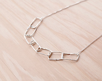 Minimalist Necklace Contemporary Jewelry Sterling Silver Floating Rectangle Necklace