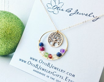 Family Birthstones Tree of life necklace for mom, mothers day gift, mother of the groom, mother of the bride, mother in law, wedding jewelry