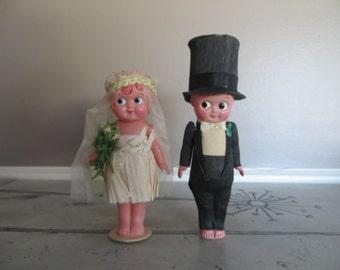 "7"" Celluloid Kewpie Dolls Marked Japan Wedding Kewpie Dolls Collectible Dolls Wedding Cake Topper Flapper Doll 1930s Dolls"
