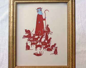 Framed giclee print of Herding Cats , Susan Sanford Art in gold frame