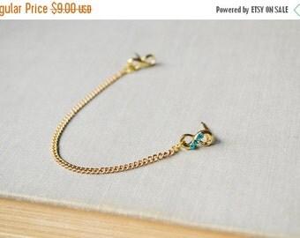 SALE Blue Crystal Gold Infinity Cartilage Earring (Single-Side)