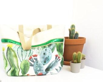 "Tote bag with glitter and stripes madden cotton ""Santa Fe""// Gift for her// summer bag // Big Bag"