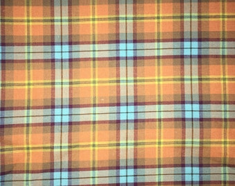 Orange Plaid fabric by the Yard