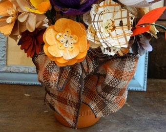 Pumpkin Mason jar -Autumn Paper floral bouquet  - FREE message card