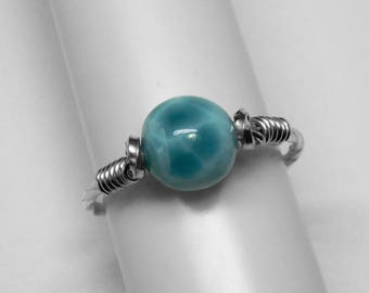 Larimar Ring in Silver or Gold, 8 or 6 mm