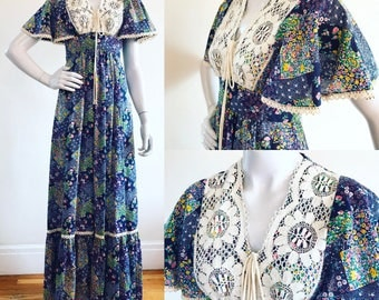 1970s Patchwork Print & Lace Flutter Sleeve Calico Boho Maxi Dress