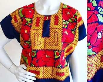 Oaxacan Art to Wear Dark Blue Satin Embroidered Textile Huipil
