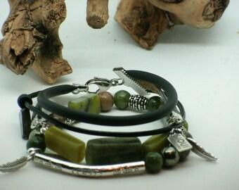 Bracelet multirang, jade et serpentine verte, pyrite, cuir recyclé/Green wrap bracelet , recycled leather, green agate