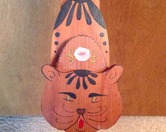 Tole Painted Cat Door Stop Country Style Scary Kitten with Tail Up