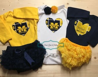 University of Michigan Inspired Bodysuit,Diaper Cover and Headband Set Made from UM Fabric,Michigan Baby,Wolverines Baby, Baby Girl Michigan