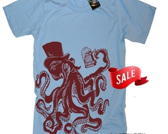 LARGE - ON SALE Octopus Drinking Beer T Shirt Funny Beer Tees Oktoberfest Gifts For Him TShirts Tentacles Shirt Nautical T Shirt - Large