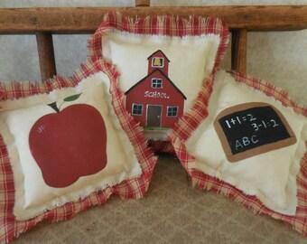 Primitive School Days Teacher Gift Folk Art Bowl Filler Tucks Slate Schoolhouse Apple Handpainted