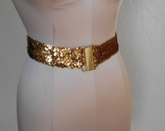 Vintage Stretch Belt Gold Sequins Gold-Toned Buckle