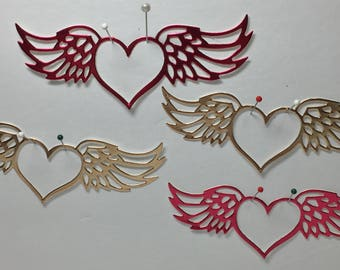 "Set of 4 Foil Poster-board Winged Heart, 4 colors, approximately 4""x1.5"""