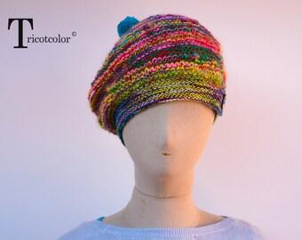 Bonnet Béret femme en laine et laine filée multicolore tricoté à la main