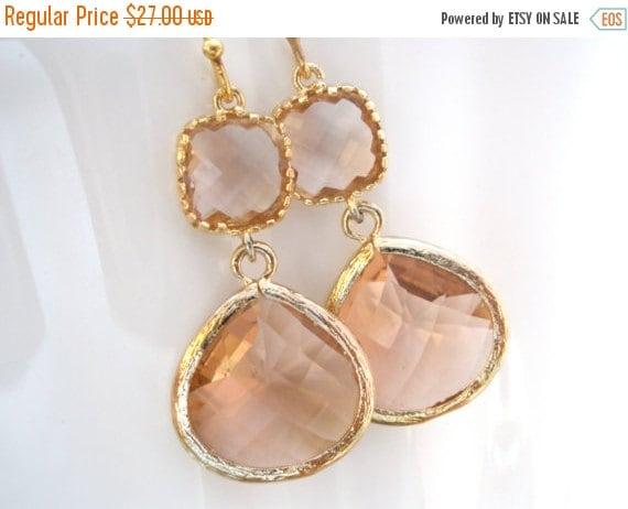 SALE Gold Peach Earrings, Beige, Champagne Earrings, Bridesmaid Jewelry, Wedding Jewelry, Bridesmaid Earrings, Bridal Jewelry, Bridesmaid Gi