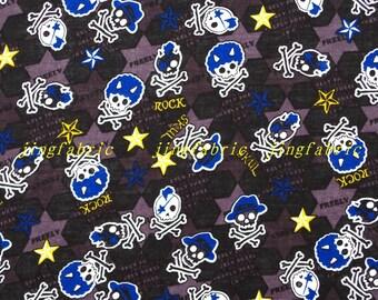 C353 - 140cmx100cm Cotton Fabric - Skull Rock and star