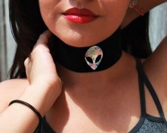 Alien Black Velvet Thick Choker Necklace Handmade