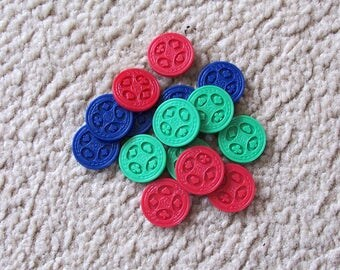 15 Sequence Vintage Plastic Game Pieces 1995, Mixed Media - Altered Art