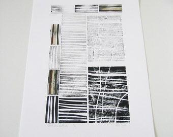 Modern Woodland Art - Sentiers battus (Beaten Tracks) - Linocut, black ink, brown, beige, green, lines. stripes, abstract wall art, 13x19