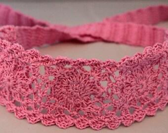 Pink Headband, Crochet, Gilrs hair accessory, gift, summer hair,