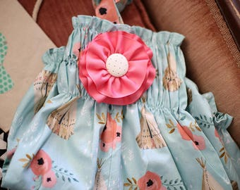 My Tribe  Baby Bubble with Detachable Pink Flower & Halter Back