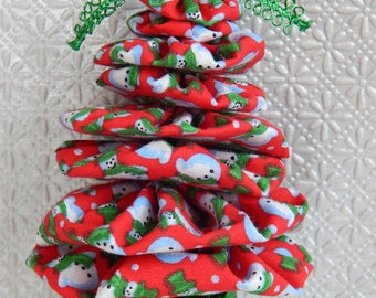 Snowmen on Red Yo Yo Tree Ornament
