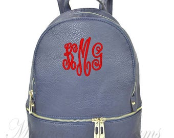 Personalized Navy Soft Textured Synthetic Leather Backpack Purse FREE Monogram