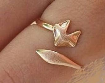 Ring, adjustable ring, knuckle ring,  fox ring, silver plated fox ring, 18k rose gold plated fashion ring, ready to ship,