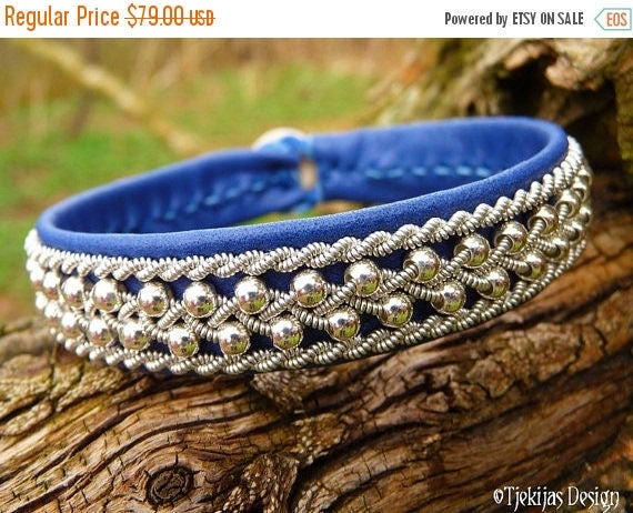 ROSKVA Sami Bracelet Swedish Blue Leather Viking Silver Cuff Authentic Nordic Handcrafted Spirit from Tjekijas Design