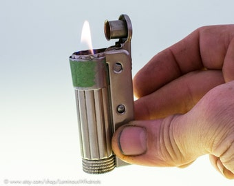 Working 1930s Austrian IMCO Triplex Windproof Lighter With Green Wind Guard