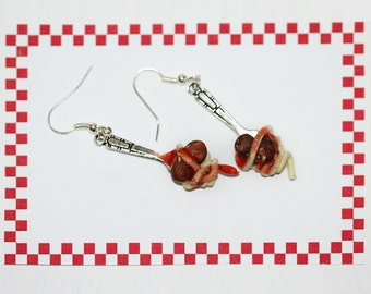 Italian Food Spaghetti Earrings - Kawaii Earrings - Spaghetti Bolognese Earrings - Italian Food Jewelry - spaghetti and meatballs Earrings