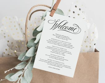 Editable Template - Instant Download Musical Wedding Weekend Welcome Itinerary